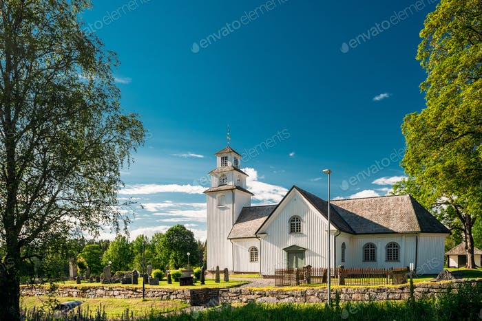 Tocksfors, Sweden. Tocksmarks Church In Sunny Summer Day