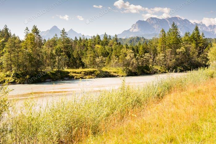 River Isar in the Karwendel mountain range in Bavaria