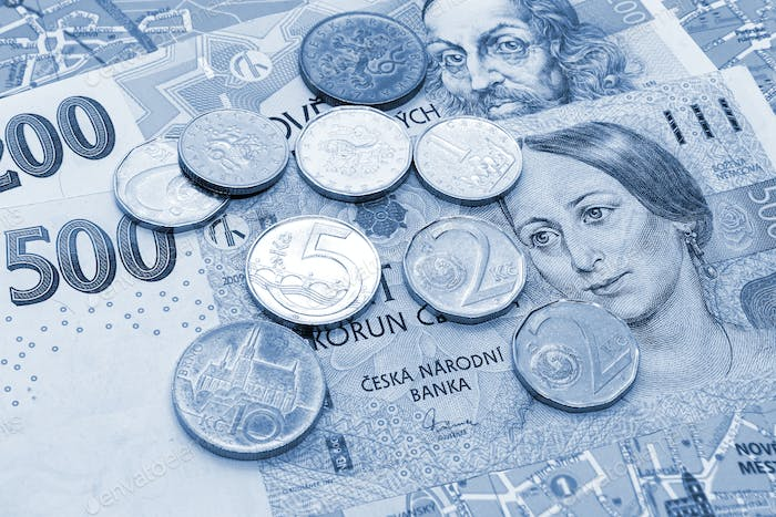 Money of Czech Republic, banknotes and coins on tourist map