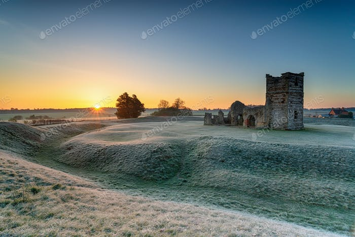 Frosty sunrise over the old church at Knowlton