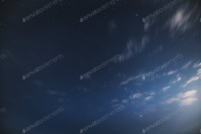Real Night Sky Stars. Natural Starry Sky Blue Color Background