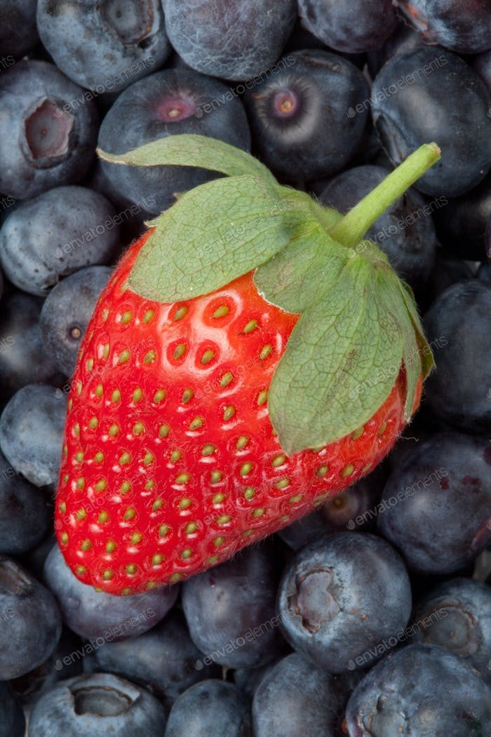 Strawberry in the middle of blueberries in a high angle view