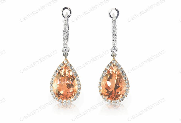 Beautiful peach pink morganite Diamond gemstone cushion cut teardrop drop dangle diamond earrings.