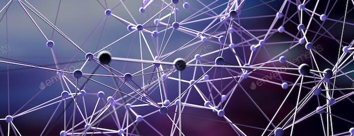 Molecular abstract network, dark background, 3d illustration