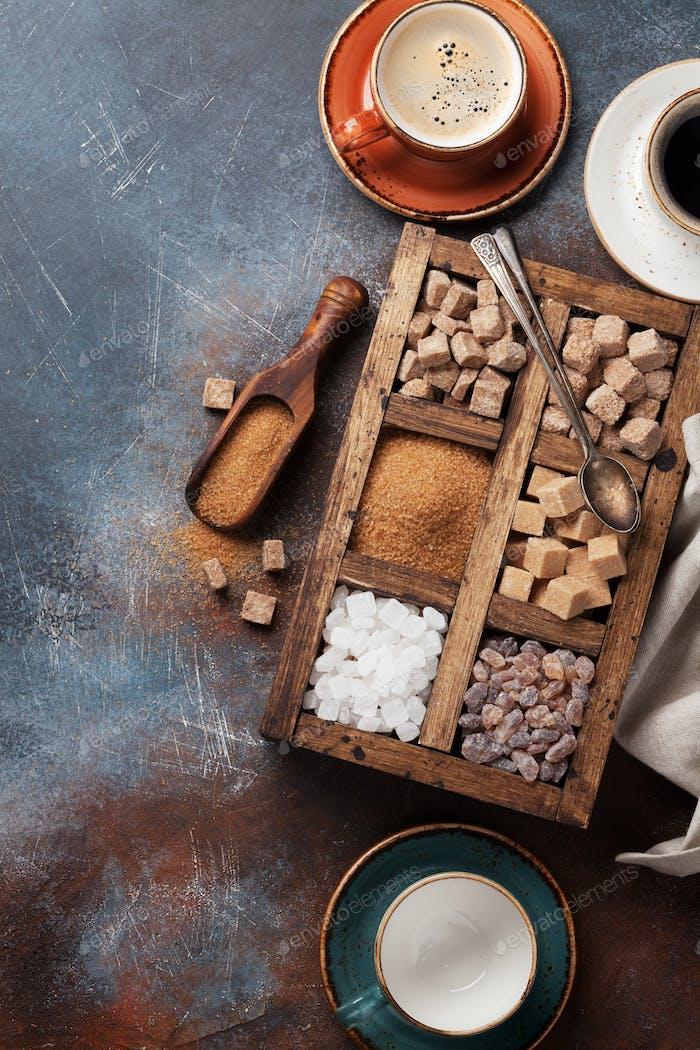 Various brown and white sugar