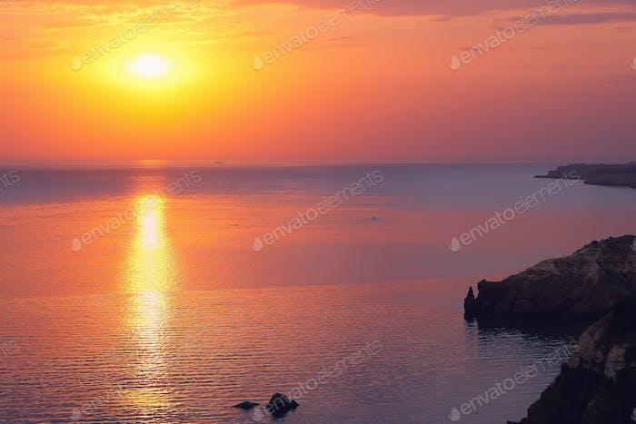 Dramatic sunset at cape Fiolent