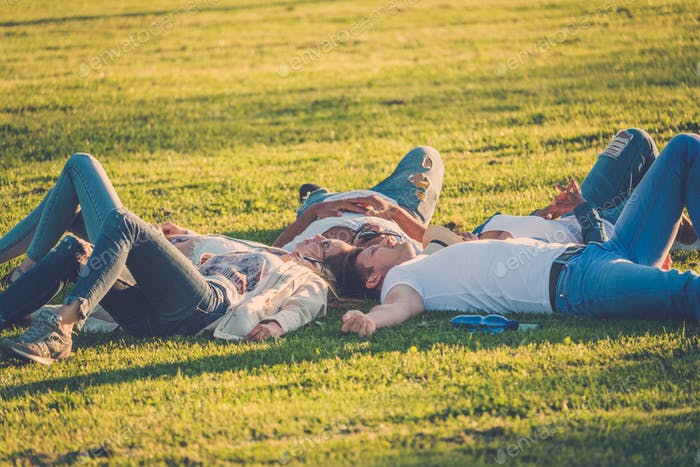 Multi-ethnic group of friends resting in a park