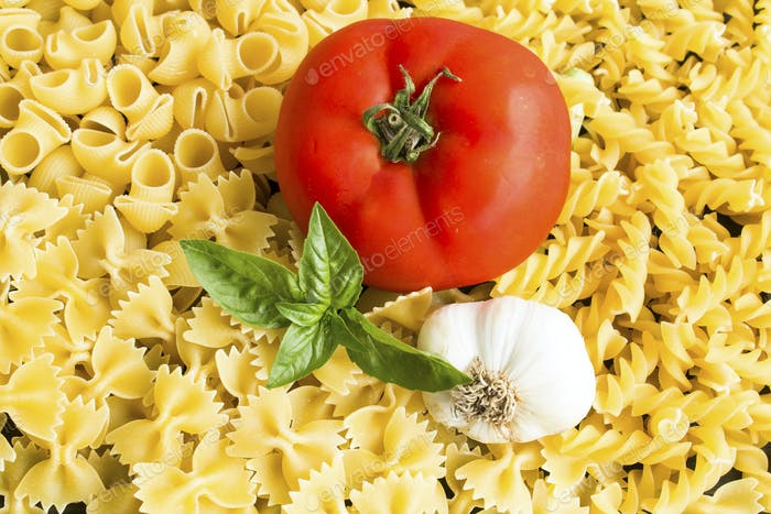 Italian cuisine, Pasta, Tomato, Garlic and Basil