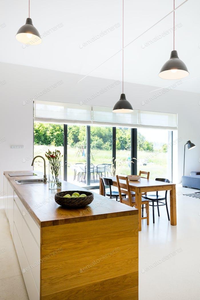 Minimalist modern room with kitchenette
