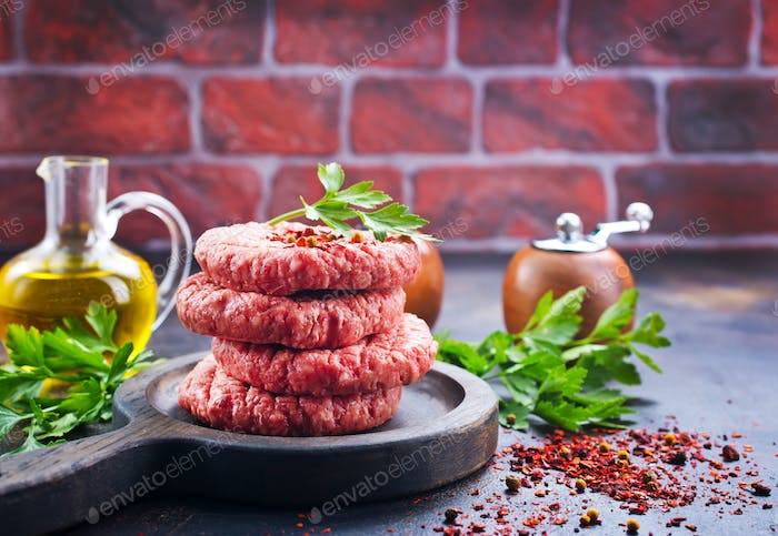 raw cutlets for burger