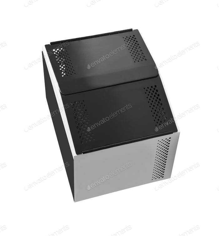 Computer system unit on white background