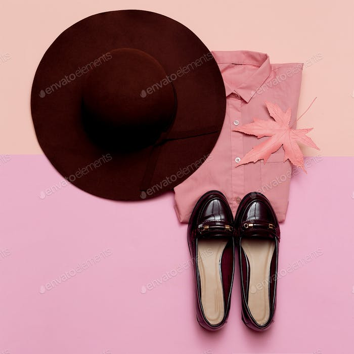 Fashionable Outfit for Lady Shoes and Hat City Fashion