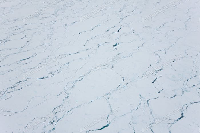 Aeriel view over sea ice, nr Kulusuk, Greenland
