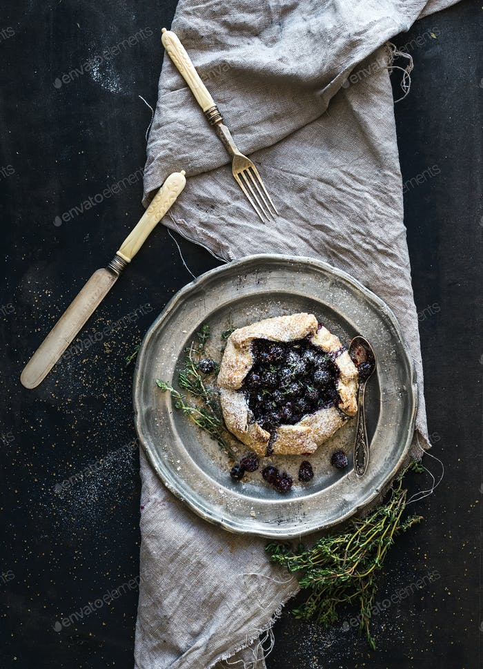 Homemade crostata or galette with blueberries