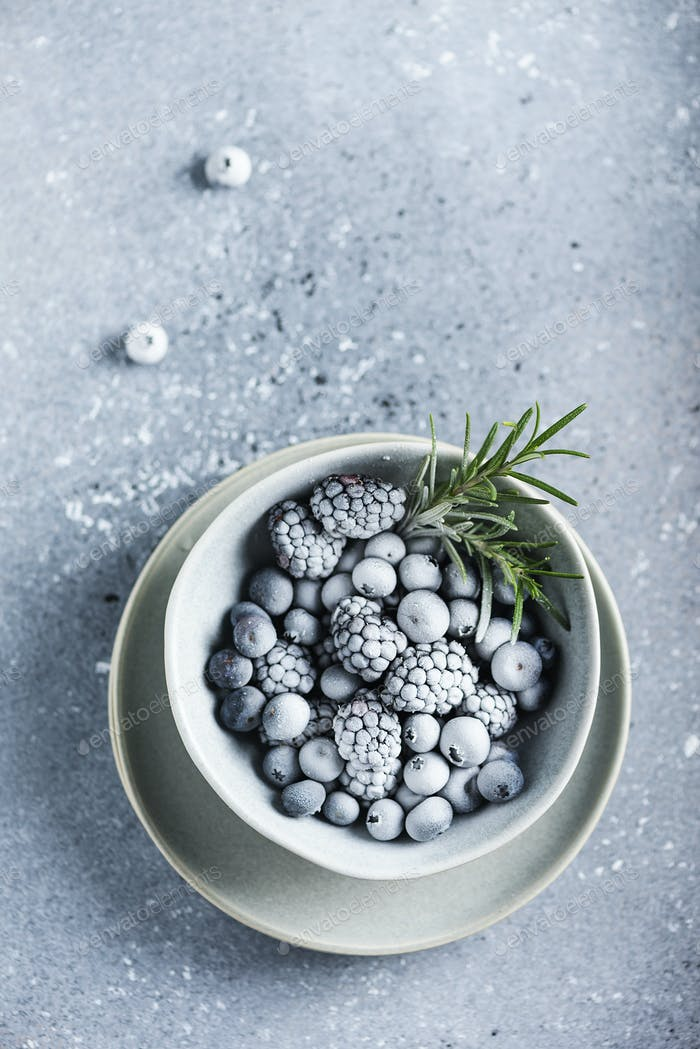 Frozen berry and rosemary