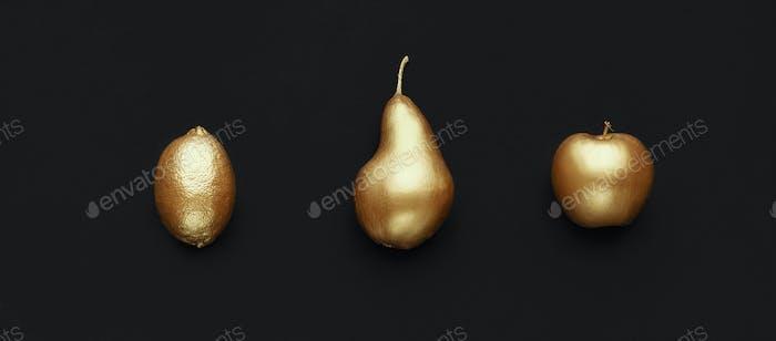 Set of golden fruits