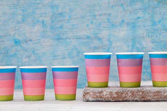 Multicolored disposable paper cups