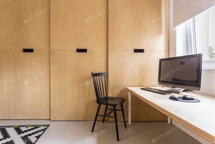 Simple scandi office with computer