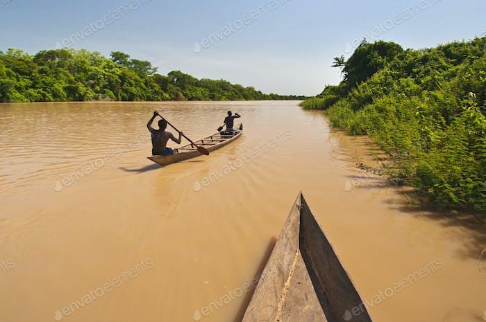 Hombres remando canoa aguas arriba, río Volta negro, Ghana