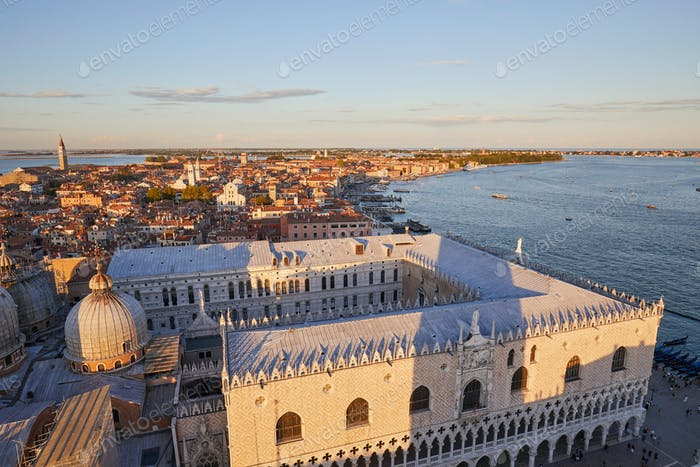 View of Venice from Saint Mark bell tower, sunset in Italy