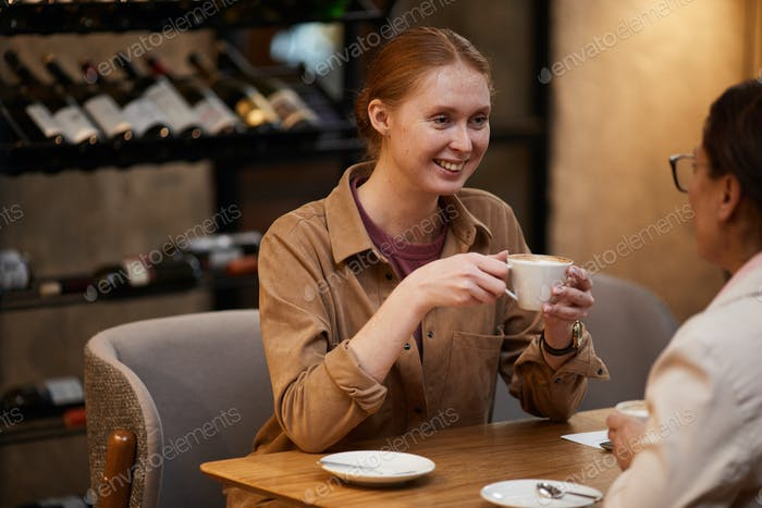 Women have meeting in the restaurant