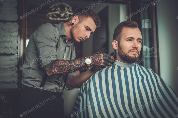 Thumbnail for Confident man visiting hairstylist in barber shop.