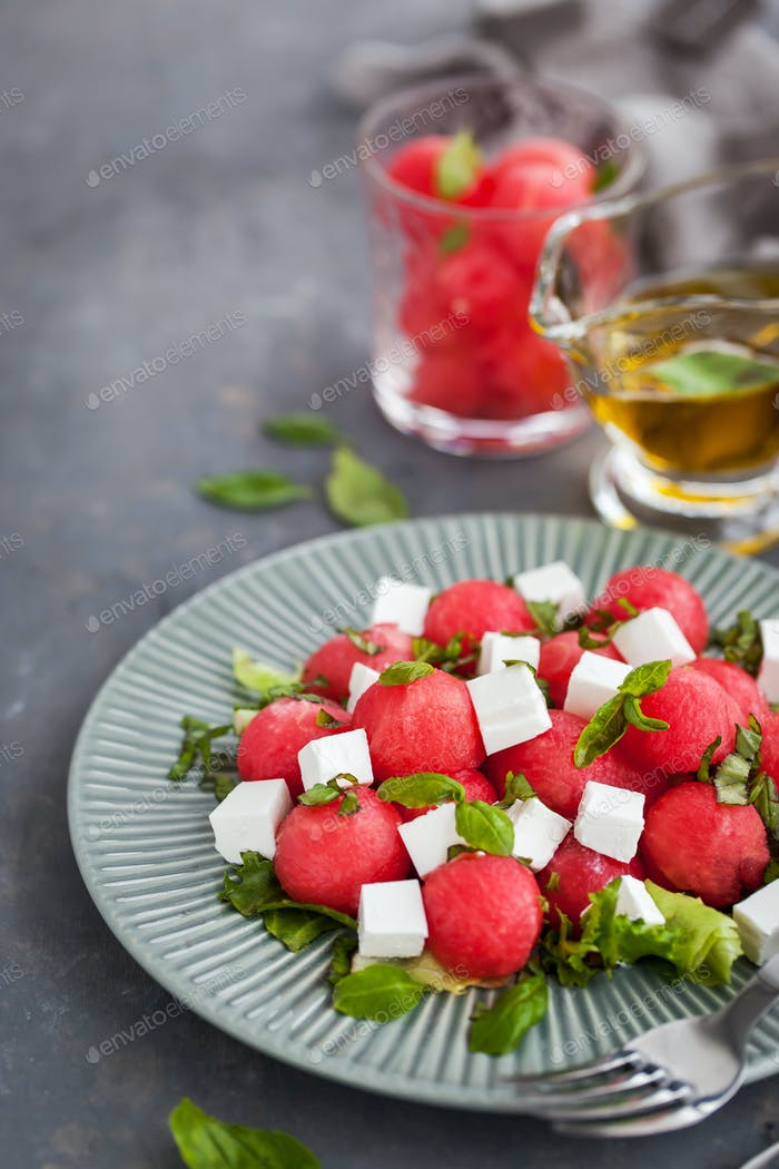 Fresh delicious salad with watermelon and feta cheese
