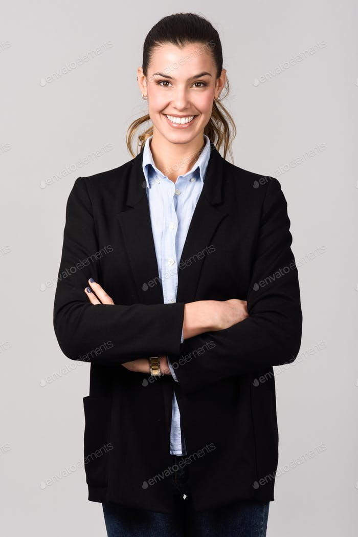 Smiling businesswoman. Studio shot