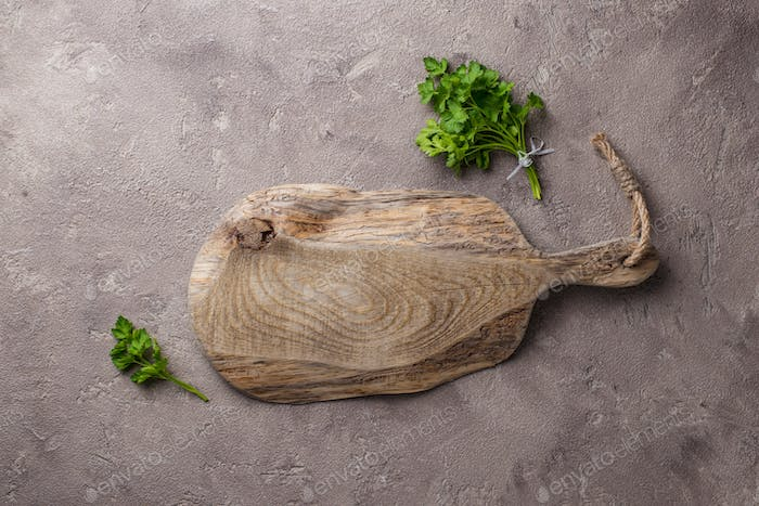 Empty wooden rustic cutting board
