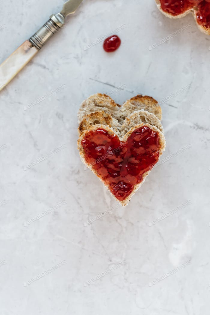 Stack of Heart Shaped Toast with Jam