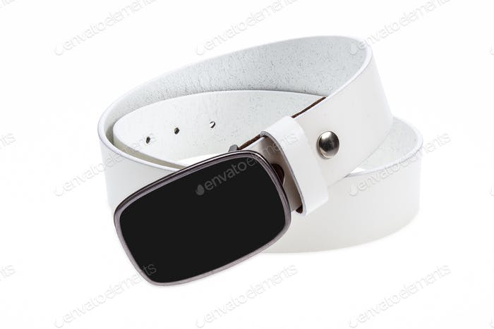 Leather white belt with black buckle
