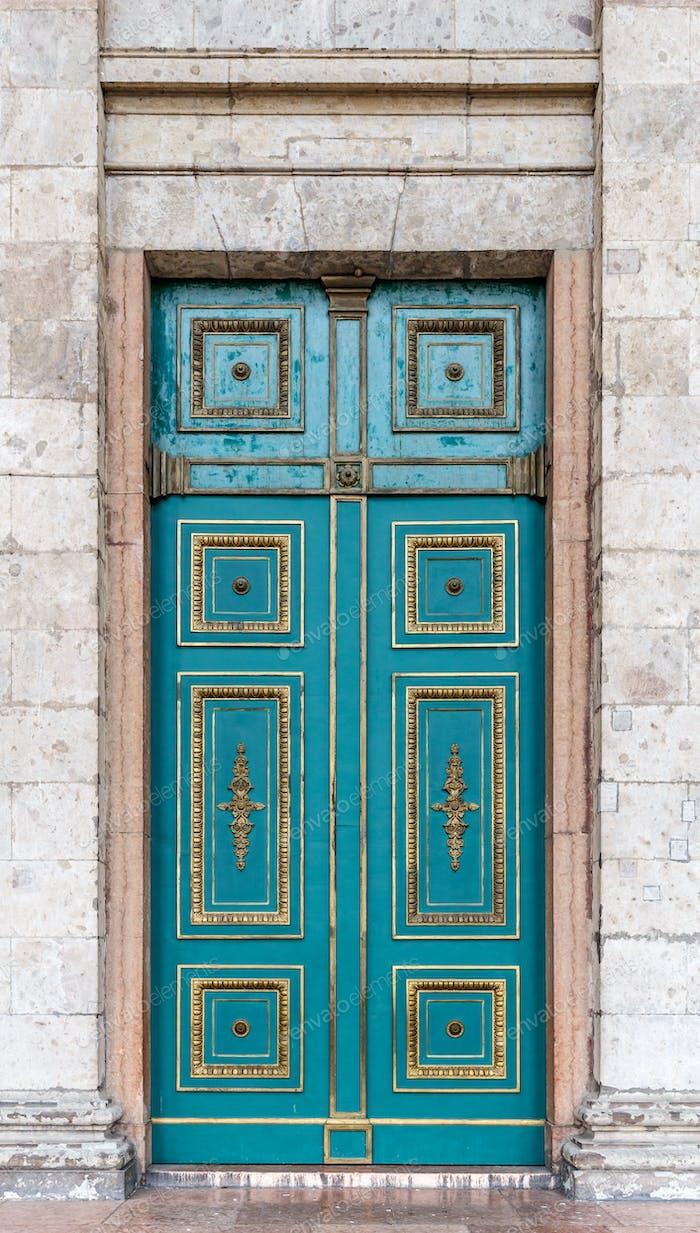 Blue door townhouse entrance
