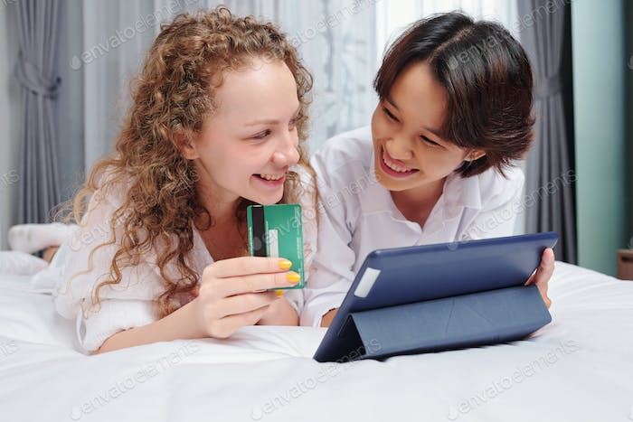 Multiracial girlfriends shopping online