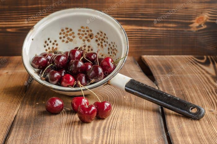 Cherry in a colander