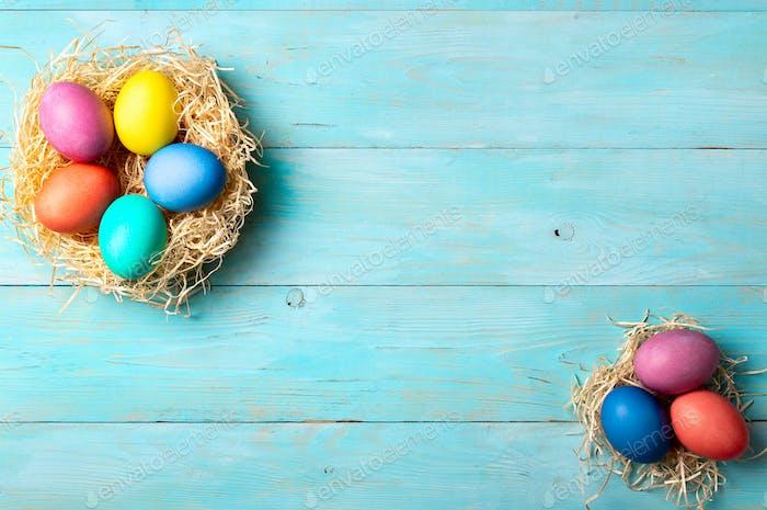 Osterkonzept, Kopierraum, Draufsicht, blaues Holz