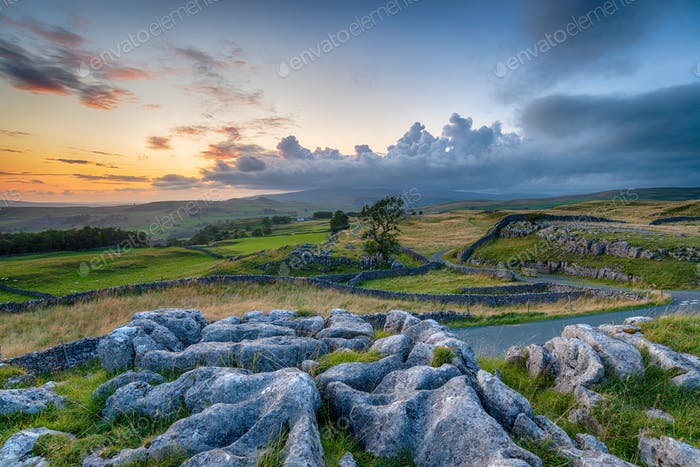 Dusk over the Winskill Stones