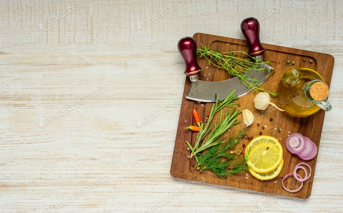 Wooden Chopping Board with Cooking Ingredients and Copy Space