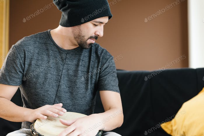 Musician Playing Drums.