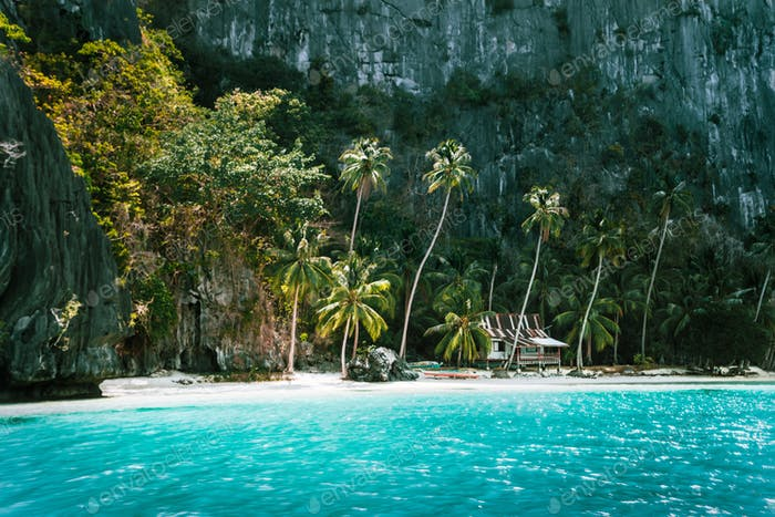 El Nido, Palawan, Philippines. Secluded tropical hut on Pinagbuyutan Island. Amazing white sand