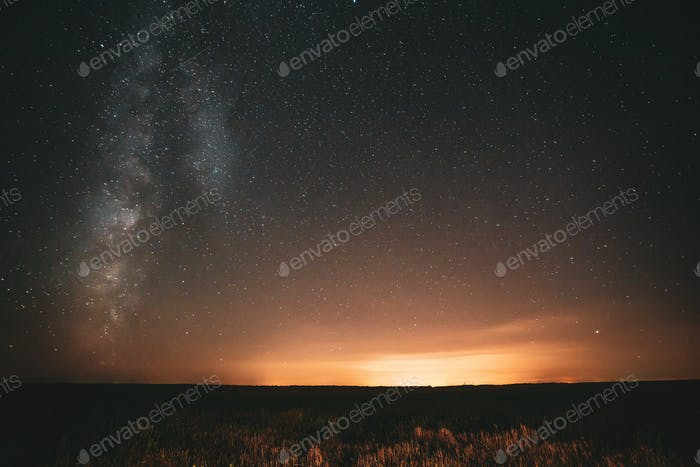 Natural Night Sky Stars With Milky Way Galaxy Above Field Landsc