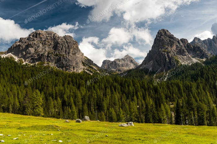 Panoramic View Over Tyrol Dolomites Peaks near Tre Cime di Lavar