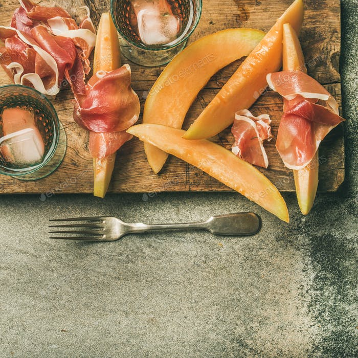 Summer wine party set with rose wine, prosciutto, square crop