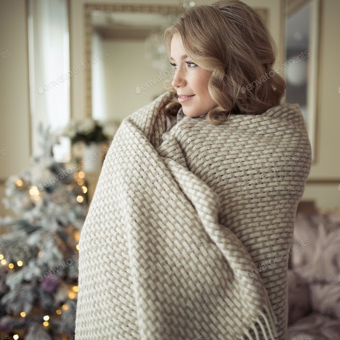 Beautiful Pregnant Woman In Comfy Clothes. Christmas