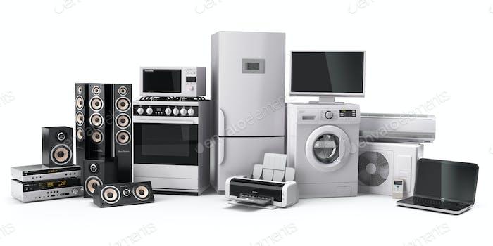 Haushaltsgeräte. Gasherd, TV-Kino, Kühlschrank Luftkonditi