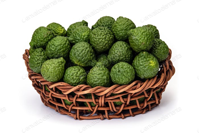 Kaffir lime in basket of wicker, for herbal medicine