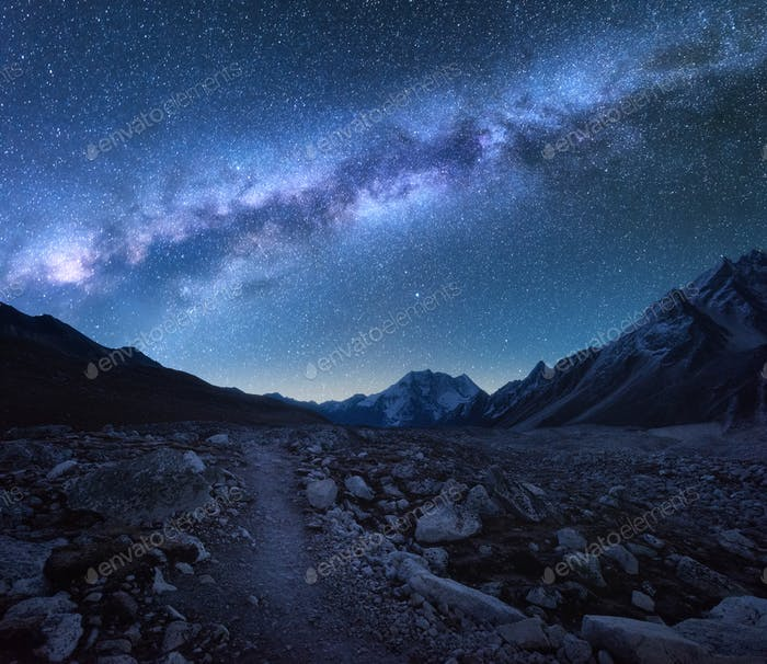 Thumbnail for Milky Way and mountains. Night landscape