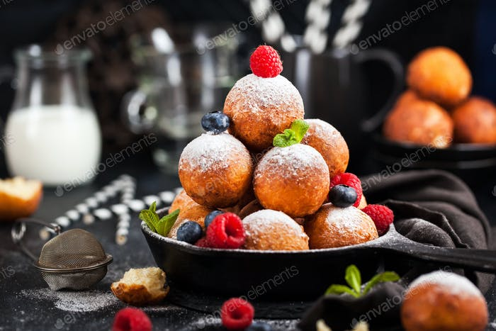 Fresh delicious homemade cottage cheese ball donuts with powdere