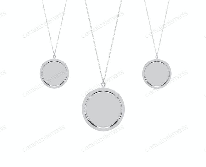 Vintage metal pendants isolated on white background