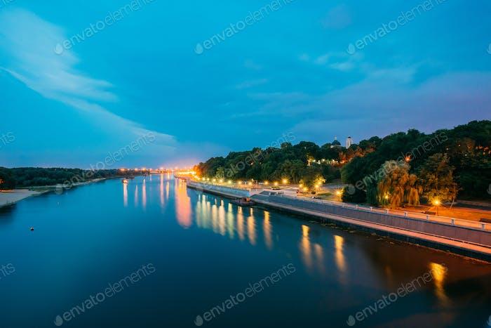 Scenic Evening View Of Sozh River, Illuminated Embankment, Park,