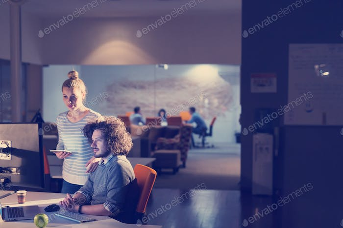 young designers in the night office
